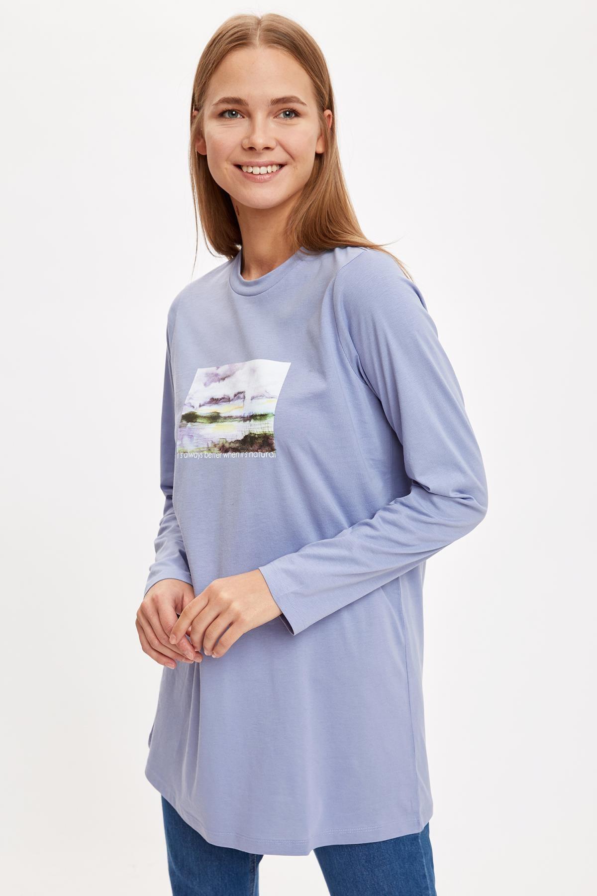 DeFacto Kadın Blue Baskılı Relax Fit Örme Tunik S8903AZ20AU
