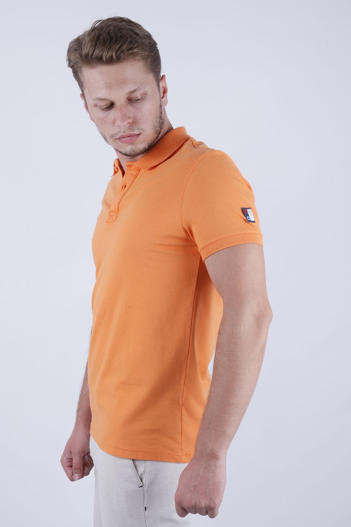 Canelia Erkek Oranj Likralı Pike Slimfit Polo Yaka T-shirt 2