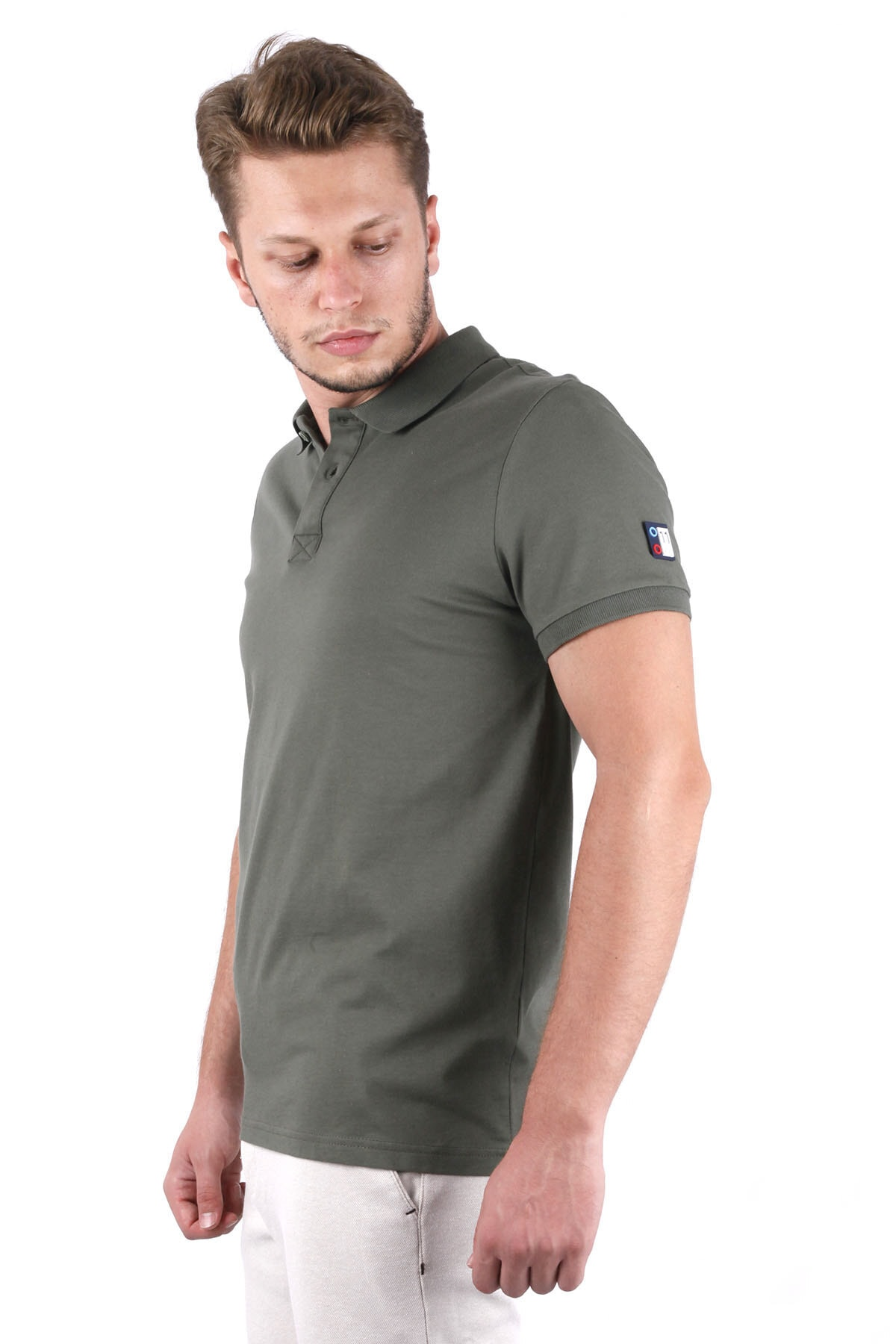 Canelia Erkek Haki Likralı Pike Slimfit Polo Yaka T-shirt 2