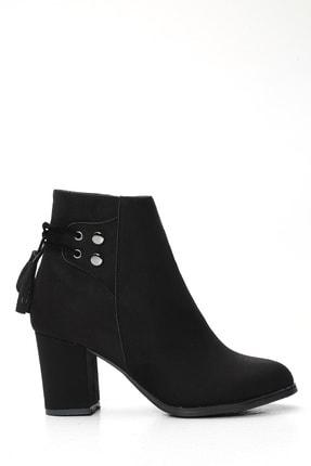 Ayakkabı Modası Kadın Siyah Kalın Topuklu Bot