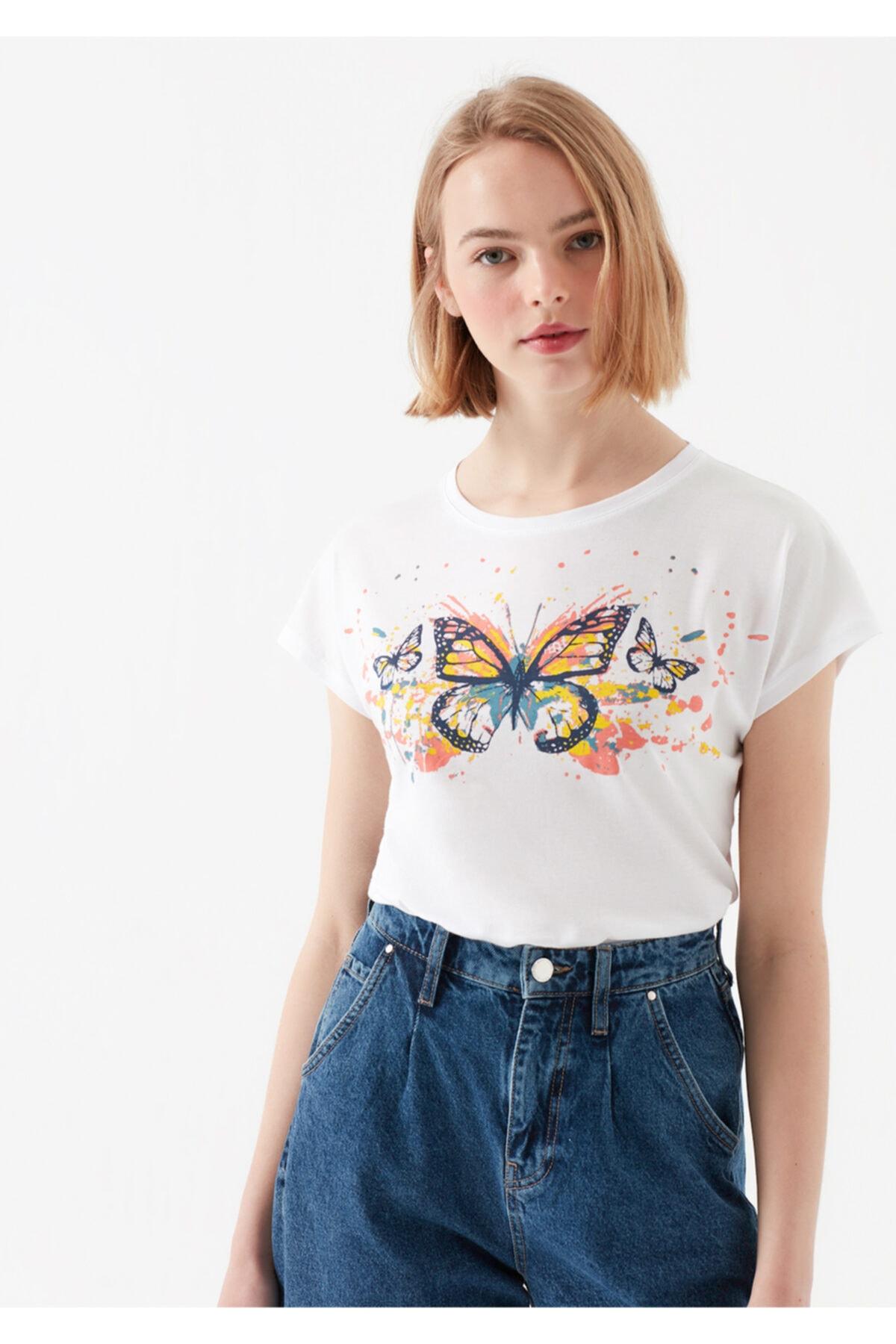 Mavi Kadın Beyaz Kelebek Baskılı T-Shirt 2