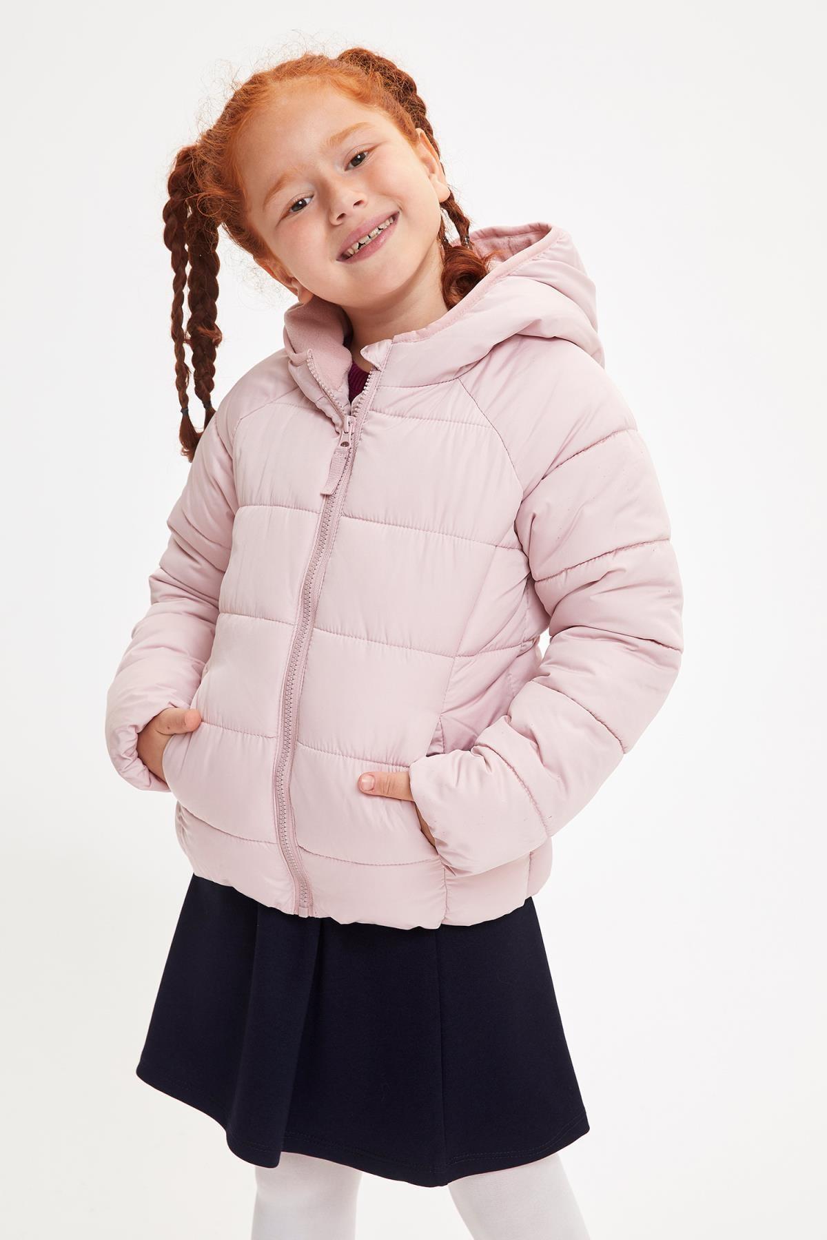 DeFacto Kız Çocuk Kapüşonlu Fermuarlı Mont
