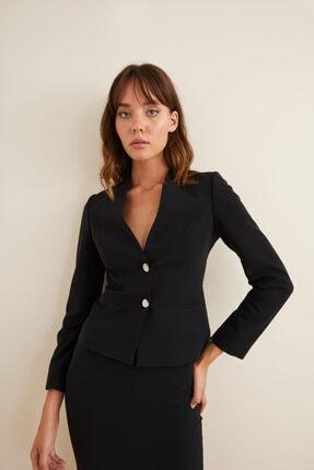adL Kadın Siyah Düz Yaka Ceket