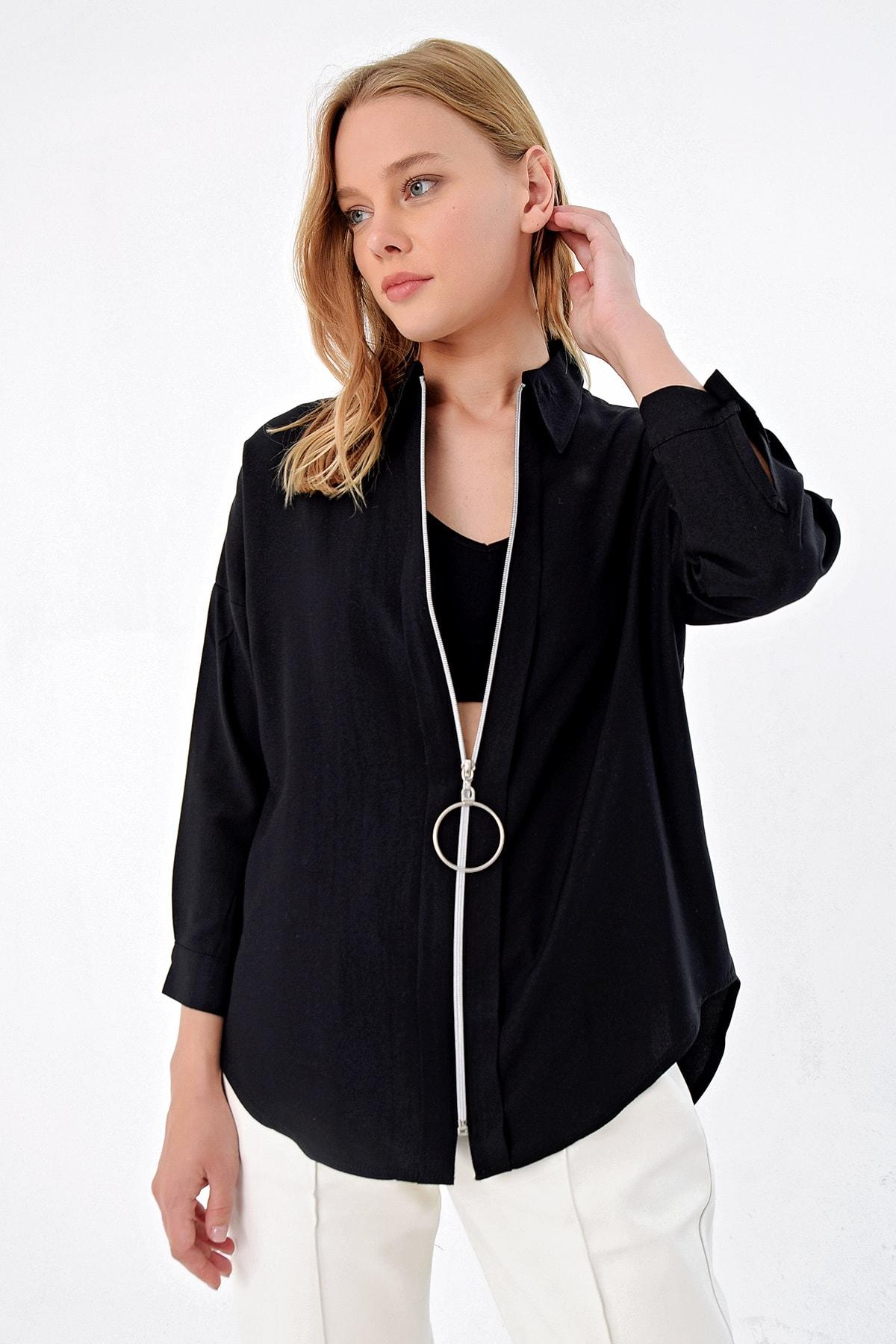 Trend Alaçatı Stili Kadın Siyah Bloklu Gömlek ALC-5490 2