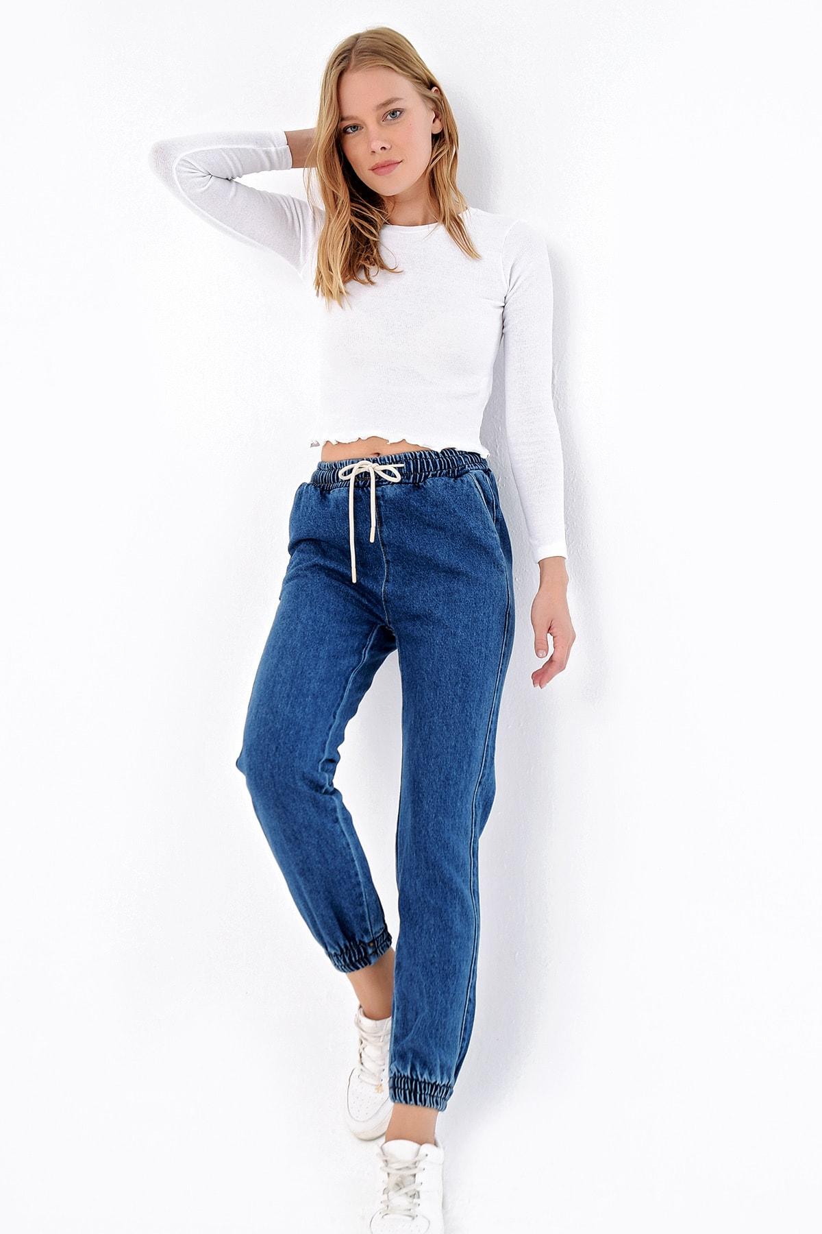 Trend Alaçatı Stili Kadın Mavi Beli Ve Paçası Lastikli Jean Pantolon ALC-X4971 2