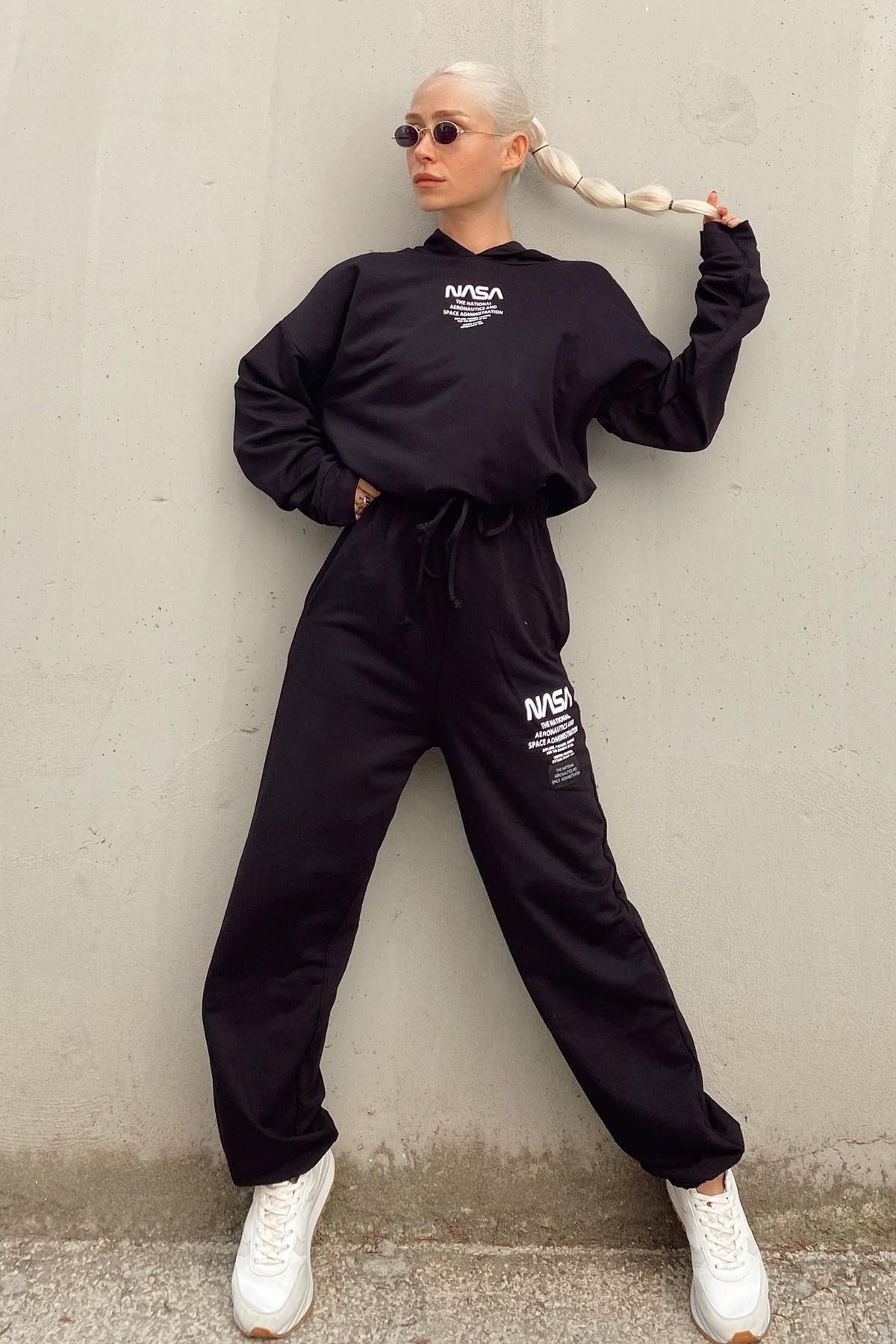 SwistLuxury Kadın Siyah Nasa Baskılı Kapüşonlu Yüksek Bel Eşofman Takımı 1