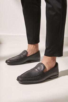Yaya  by Hotiç Hakiki Deri Sıyah Erkek Loafer Ayakkabı 02AYY602510A100