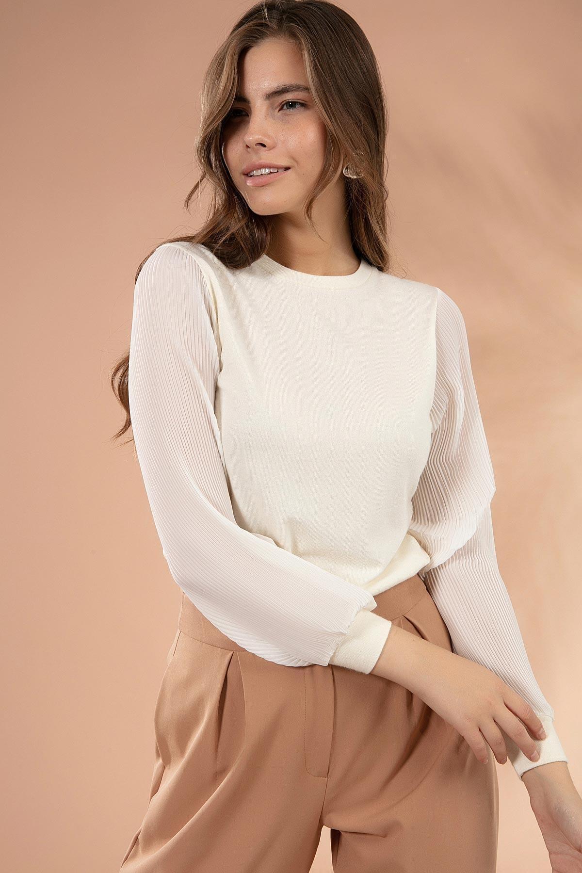 Y-London Kadın Beyaz Kolları Şifon Piliseli Triko Kazak Y20W117-20285 1
