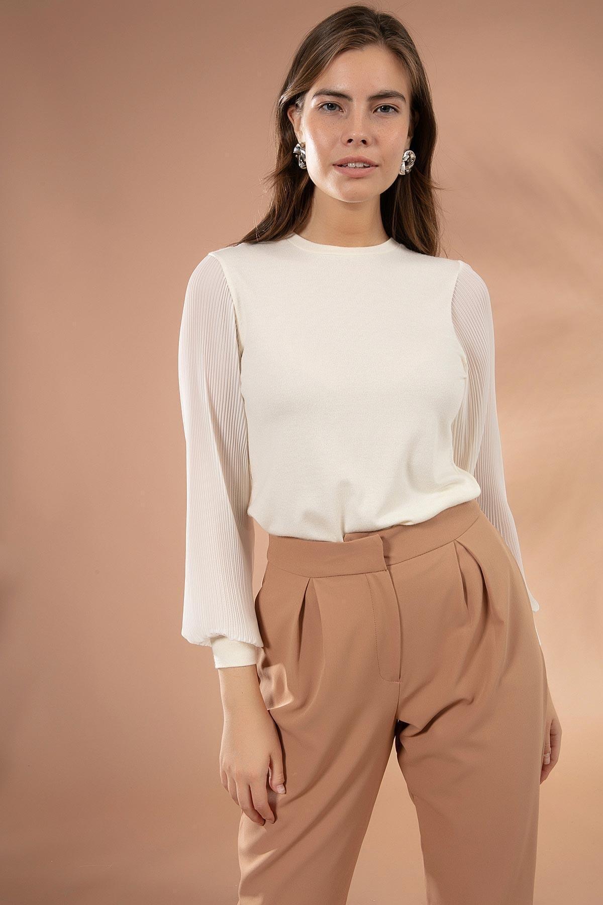 Y-London Kadın Beyaz Kolları Şifon Piliseli Triko Kazak Y20W117-20285 2