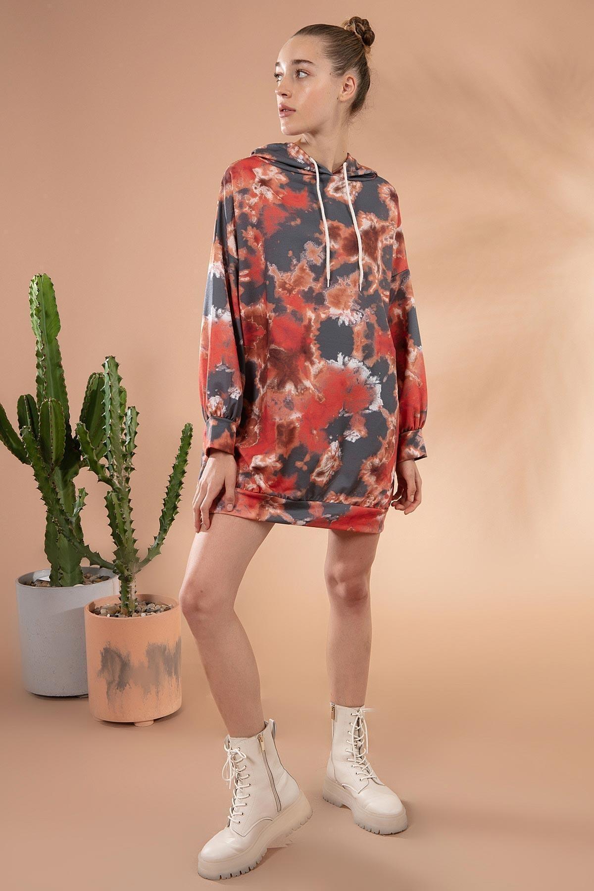 Y-London Kadın Antrasit Batik Desenli Kapşonlu Sweatshirt Elbise Y20W169-1492-1 1