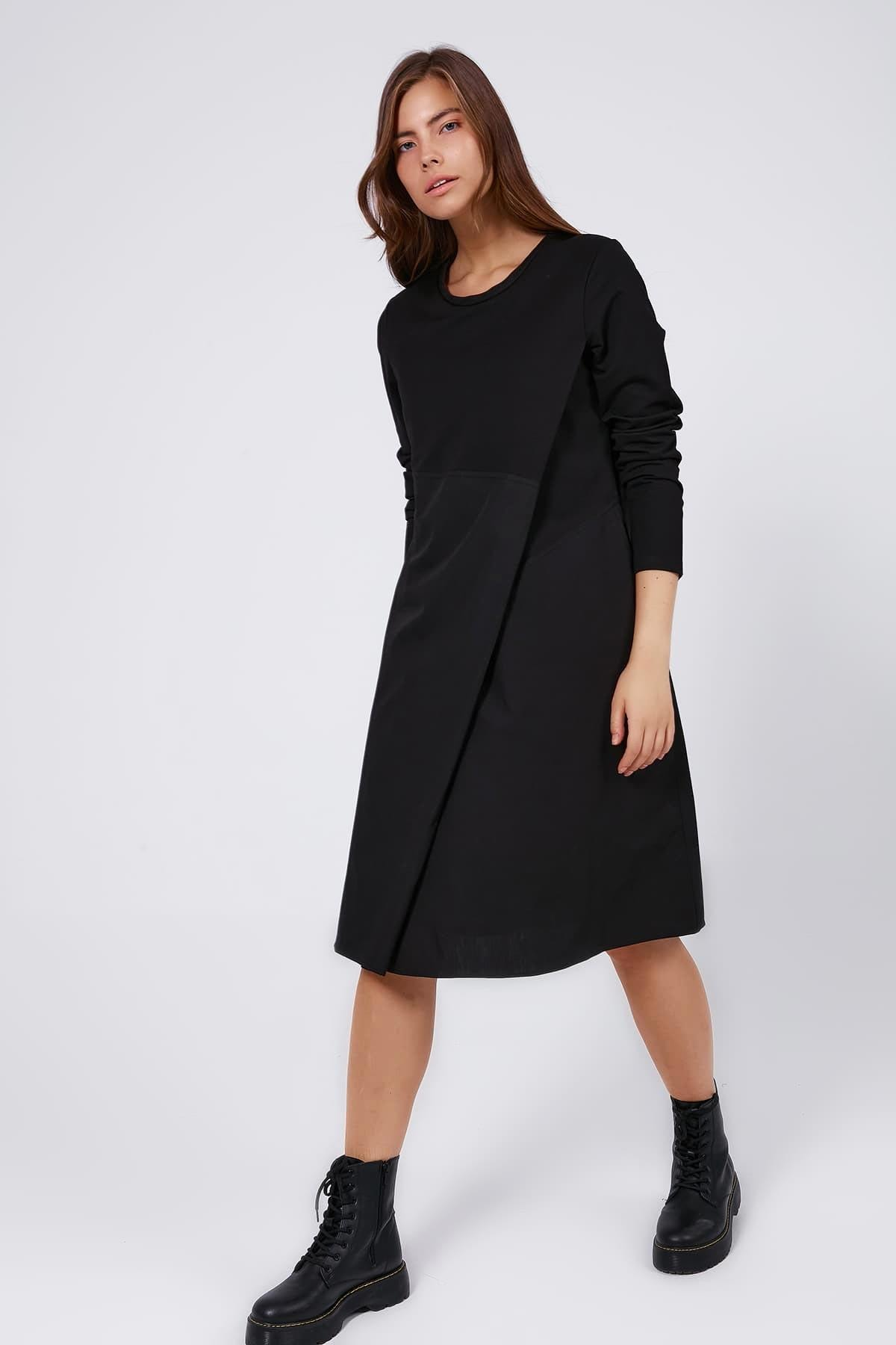 Y-London Kadın Siyah Çift Katlı Asimetrik Kesim Uzun Kollu Elbise Y20W183-7037