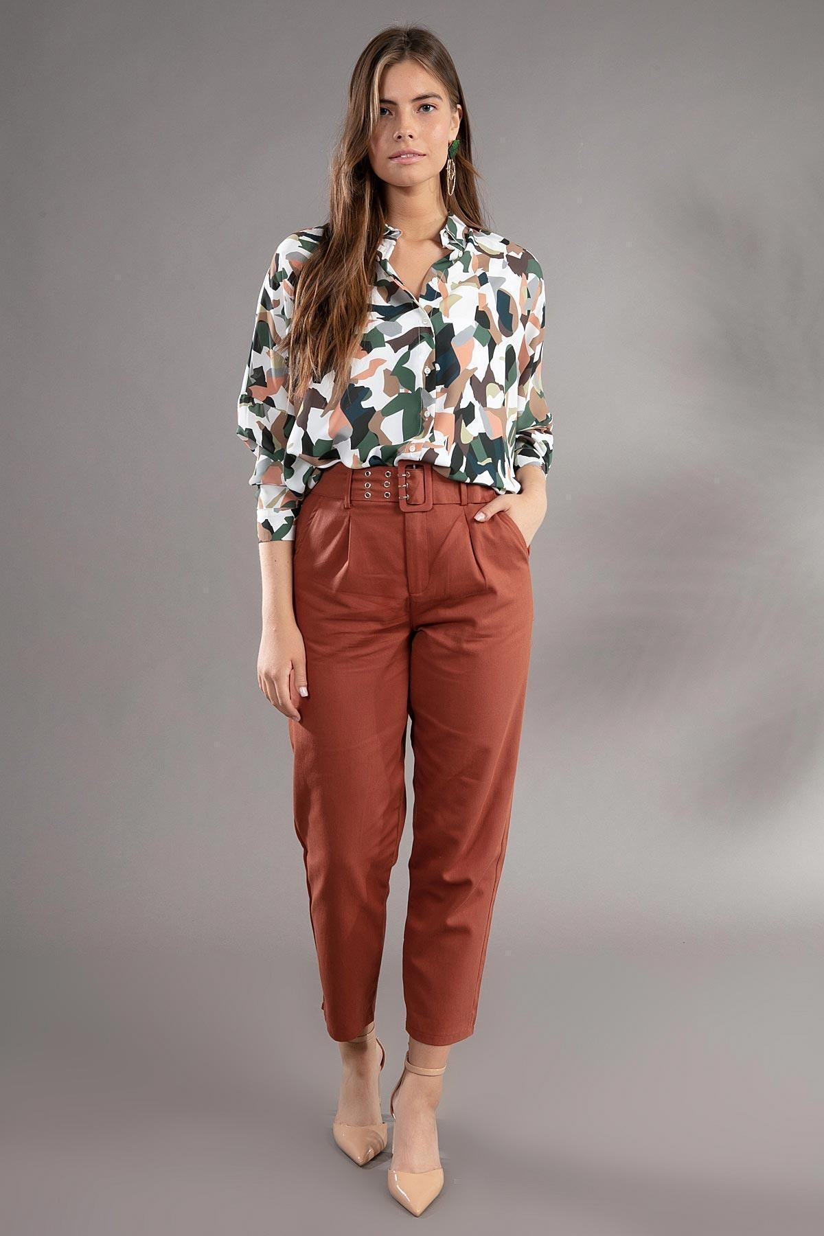 Y-London Kadın Kiremit ;Kemer Detaylı Pileli Yüksek Bel Pantolon 39522 2