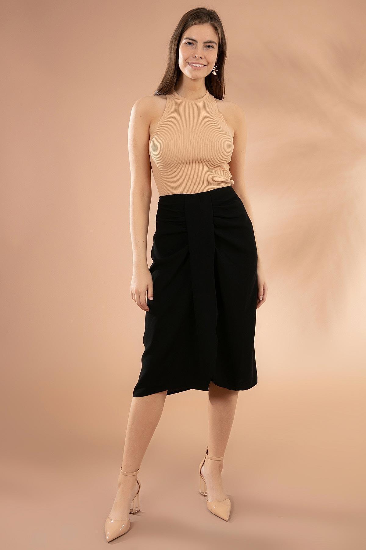 Y-London Kadın Siyah Drapeli Yırtmaçlı Kalem Etek Y20W181-8105 2