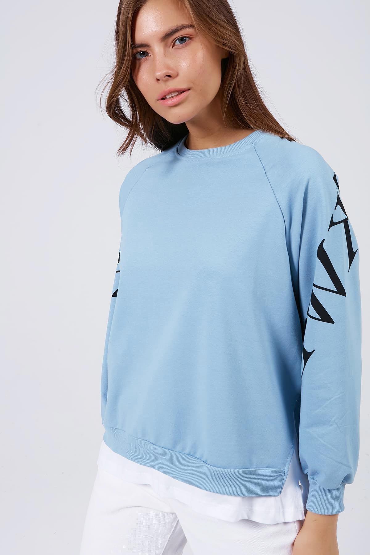 Pattaya Kadın Kolu Baskılı Tişörtlü Uzun Kollu Sweatshirt Y20w167-7603 1