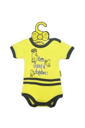 Ozge Mini Pop Ben Fanatik Doğdum Bebek Badi Kısa Kol Sarı Lacivert 0-3 Ay