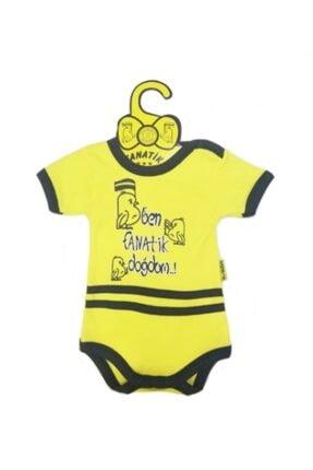 Ozge Mini Pop Ben Fanatik Doğdum Bebek Badi Kısa Kol Sarı Lacivert 6-9 Ay