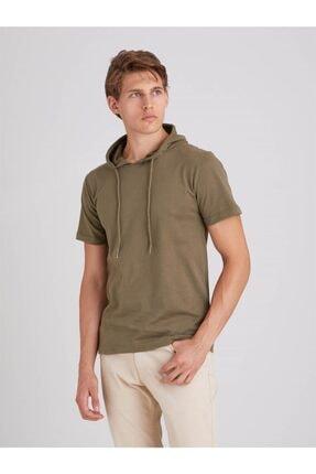 Dufy Haki Kapüşonlu Kısa Kol Pamuklu Erkek T-shırt - Modern Fit