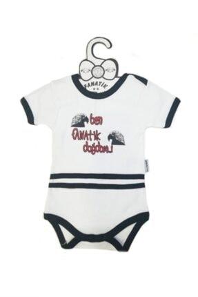 Ozge Mini Pop Ben Fanatik Doğdum Bebek Badi Kısa Kol Siyah Beyaz 3-6 Ay