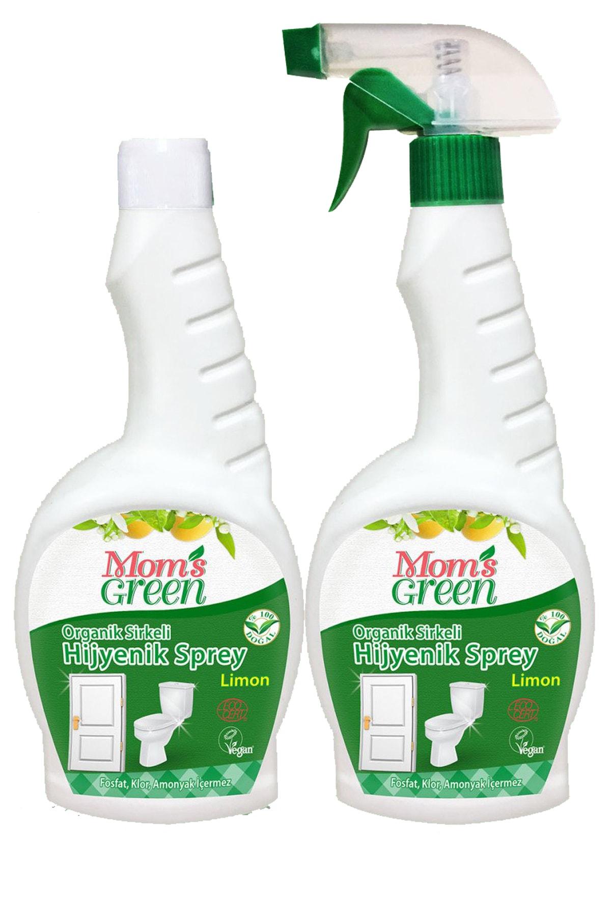 Mom's Green 2'li Set Organik Sirkeli Hijyenik Sprey Ve Yedek Şişe Limon 750 Ml 1
