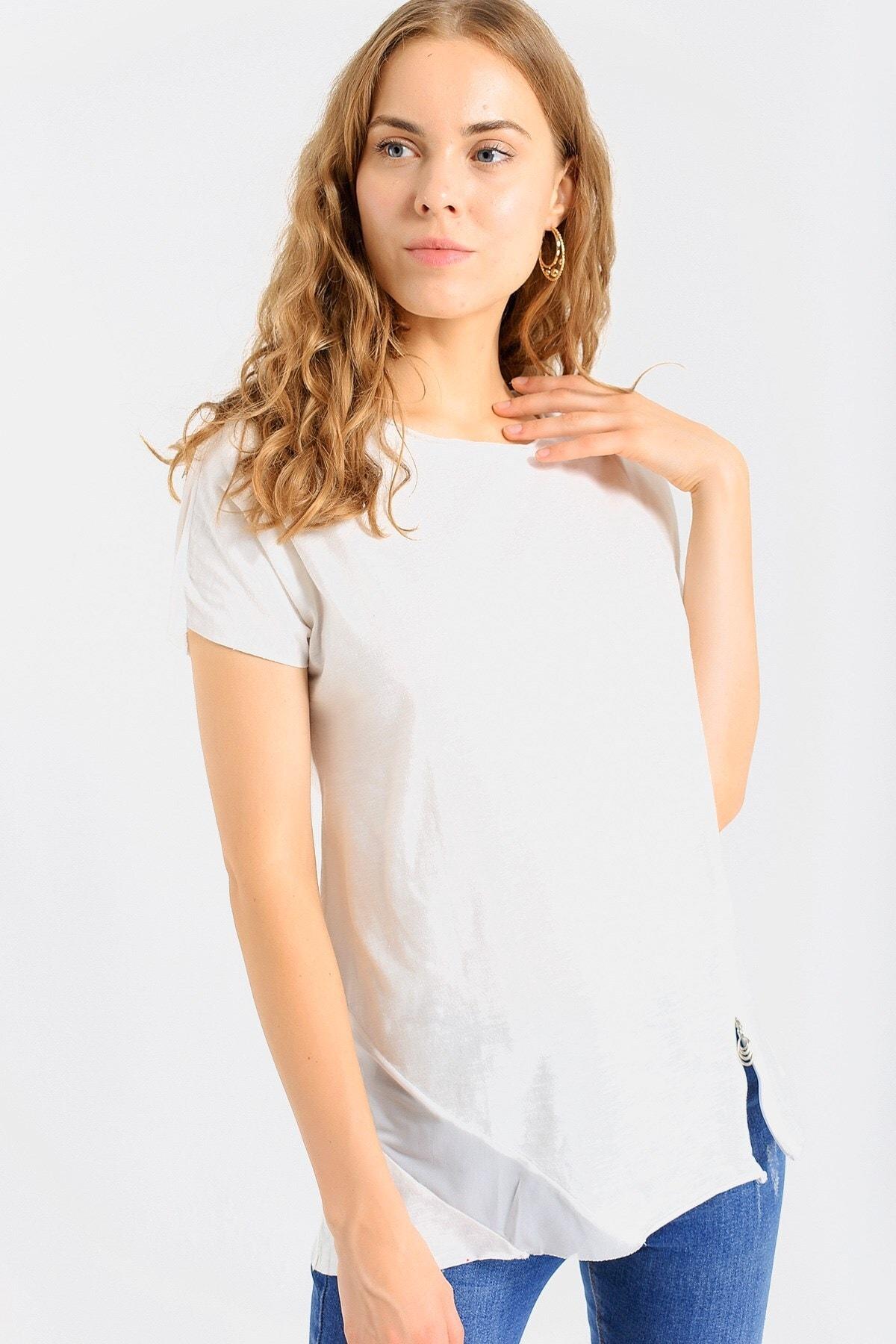 Jument Kadın Krem Kadın Pamuklu Fermuar Detaylı Bluz Tshirt-Krem 7095