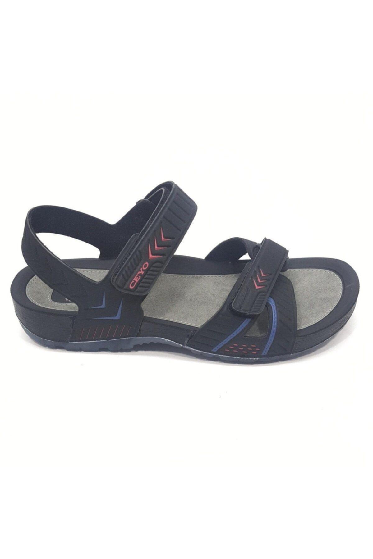 Ceyo 9829 Siyah Kırmızı Erkek Anatomik Sandalet 1