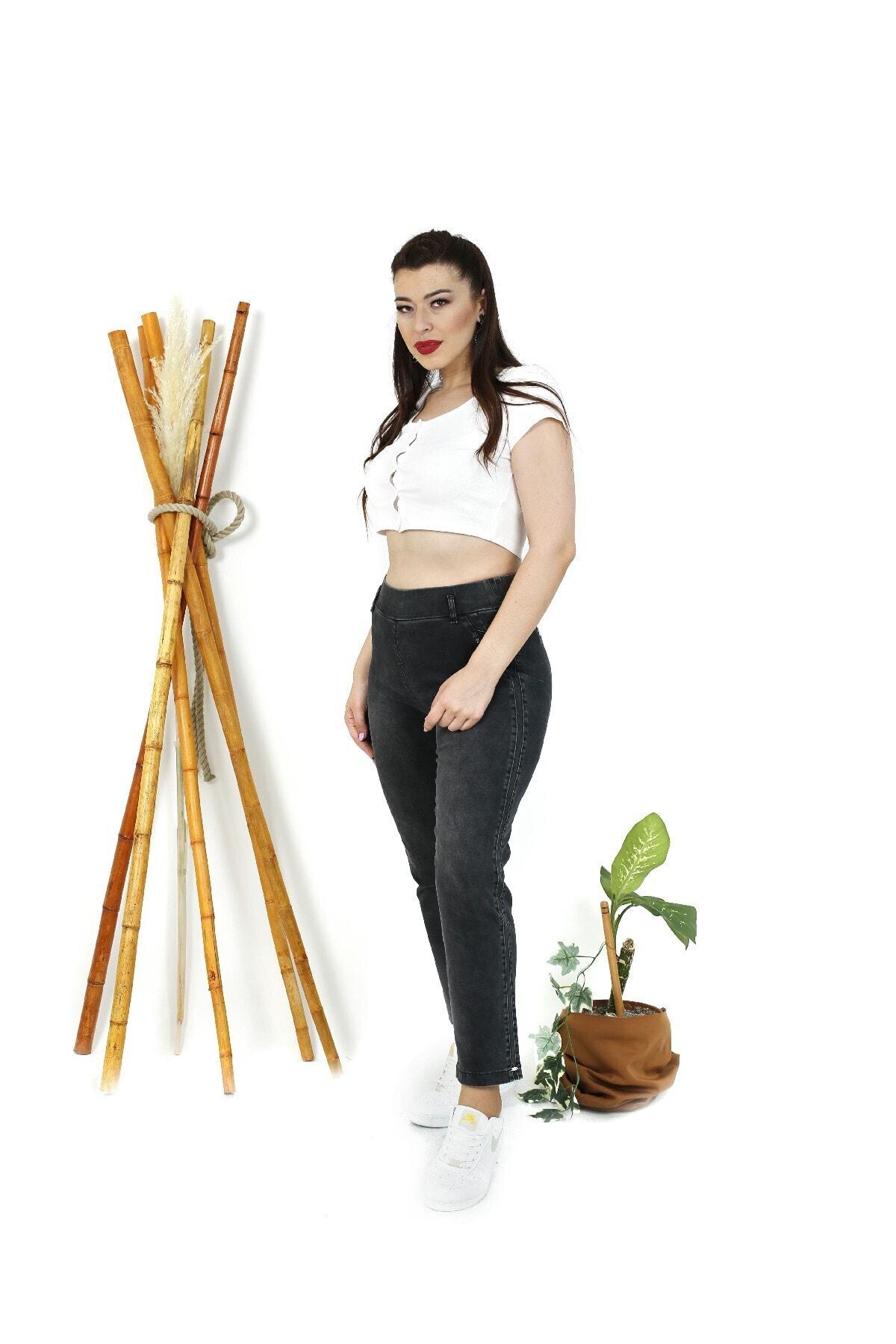 EXİTLİNE Kadın Siyah Nervürlü Şeritli Pantolon 2