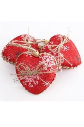 beysüs 3 Lü Kalp Şekilli Jüt Kumaş Kaplı Kar Desenli Kırmızı Yılbaşı Çam Ağacı Süs��