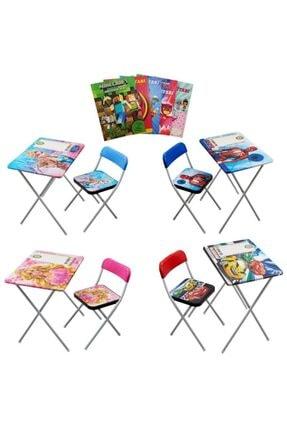 Mashotrend Çocuk Ders Çalışma Masası - Spiderman - Frozen - Barbie - Cars - Masa Sandalye Çalışma Masası+boyama