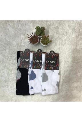 ADEL ÇORAP Unisex İnek Desenli Çorap 3'lü