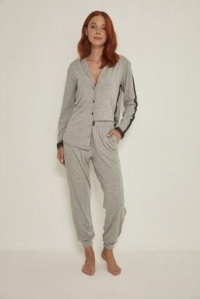 C&City Esperanza Kadın Gri Gömlek-pantolon Modal Pijama Takım 9032