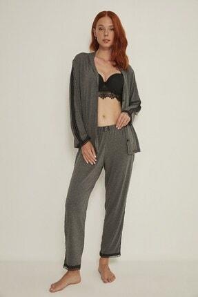 C&City Esperanza Kadın Gömlek-pantolon Modal Pijama Takım 9035 Antrasit