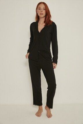 C&City Kadın Siyah Esperanza Gömlek-pantolon Modal Pijama Takım 9035