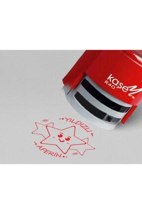 Melis Lazer Öğretmen Kaşesi Yıldızlı Aferin (40 mm Yuvarlak Kaşe-kırmızı Mürekkep )