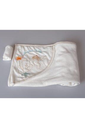 POKY BEBE Kız Erkek Bebek 105*85 Cm Ayıcık Baskılı Banyo Havlusu-el Kesesi-3027
