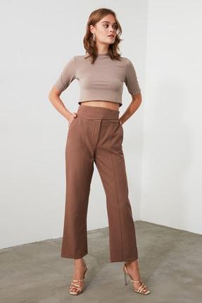 TRENDYOLMİLLA Kahverengi Yüksek Bel Pantolon TWOAW21PL0433