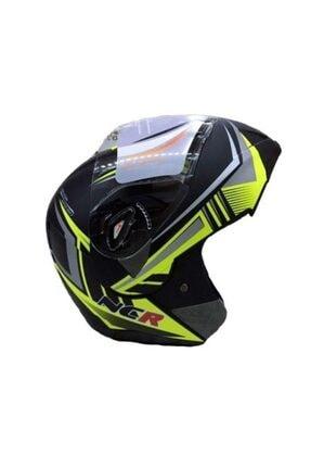 NCR Cene Açılır Vizörlü Motosiklet Kaskı Siyah Yeşil