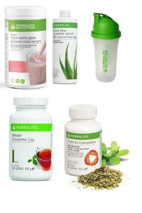 Herbalife Set Ahududu Beyaz Çikolata Shake- Aloe Suyu- 100 Gr Klasik Çay - Thermo Complete Ve Shaker