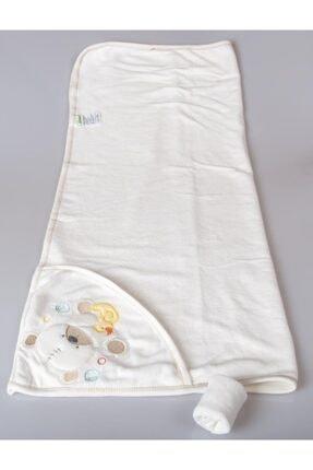 POKY BEBE Kız Erkek Bebek 105*85 Cm Ayıcık Baskılı Banyo Havlusu-el Kesesi-3522