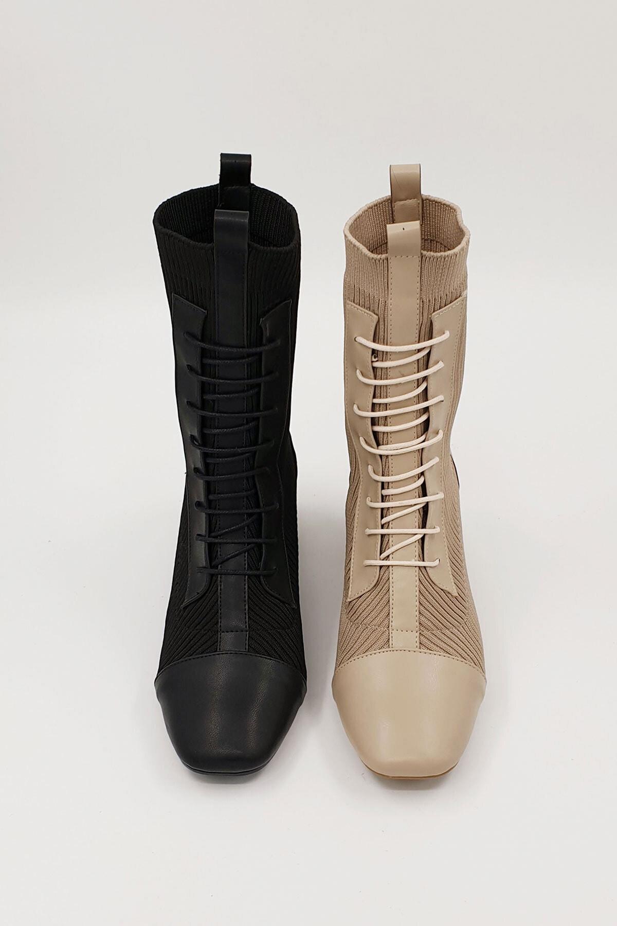 Marjin Larin Kadın Çorap Topuklu Botsiyah 2