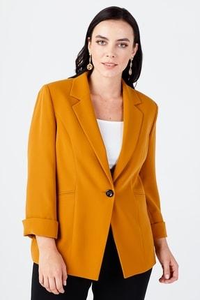 Ekol Kadın Sarı Duble Kol Çizgi Cep Ceket 06521