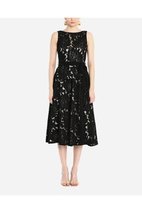 AYHAN Kadın Siyah Dantel Detaylı Kolsuz Elbise