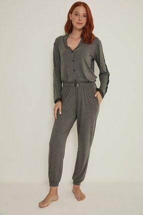 C&City Kadın Antrasit Esperanza Gömlek-pantolon Modal Pijama Takım 9032