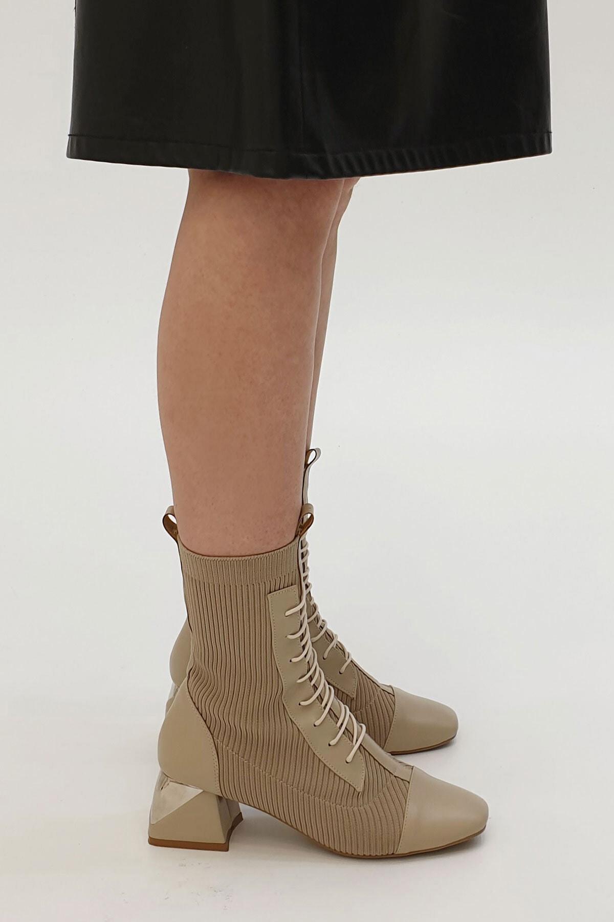 Marjin Larin Kadın Çorap Topuklu Botvizon 1