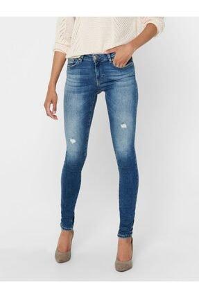 Jack & Jones Kadın Mavi  Jeans Only 15209419 Onlcarmen Lıfe Reg Sk Dot866 Noos Denim 20k