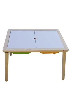Damla Toys Masif Ahşap Çocuk Oyun Aktivite Ders Masası 1 Sarı 1 Yeşil Kova
