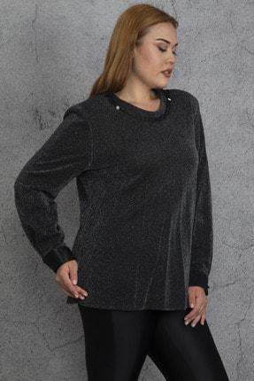Şans Kadın Gümüş Yaka Detaylı Simli Bluz 65N18533