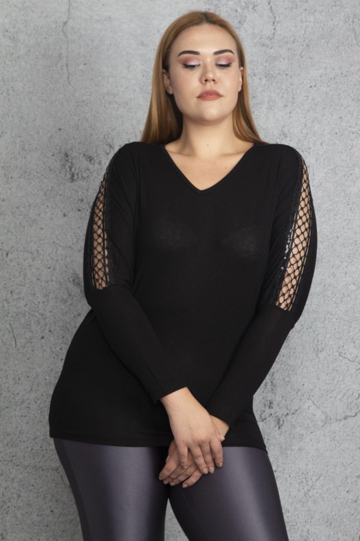 Şans Kadın Siyah Kolları Dantel Ve Payet Detaylı Bluz 65N18848 1