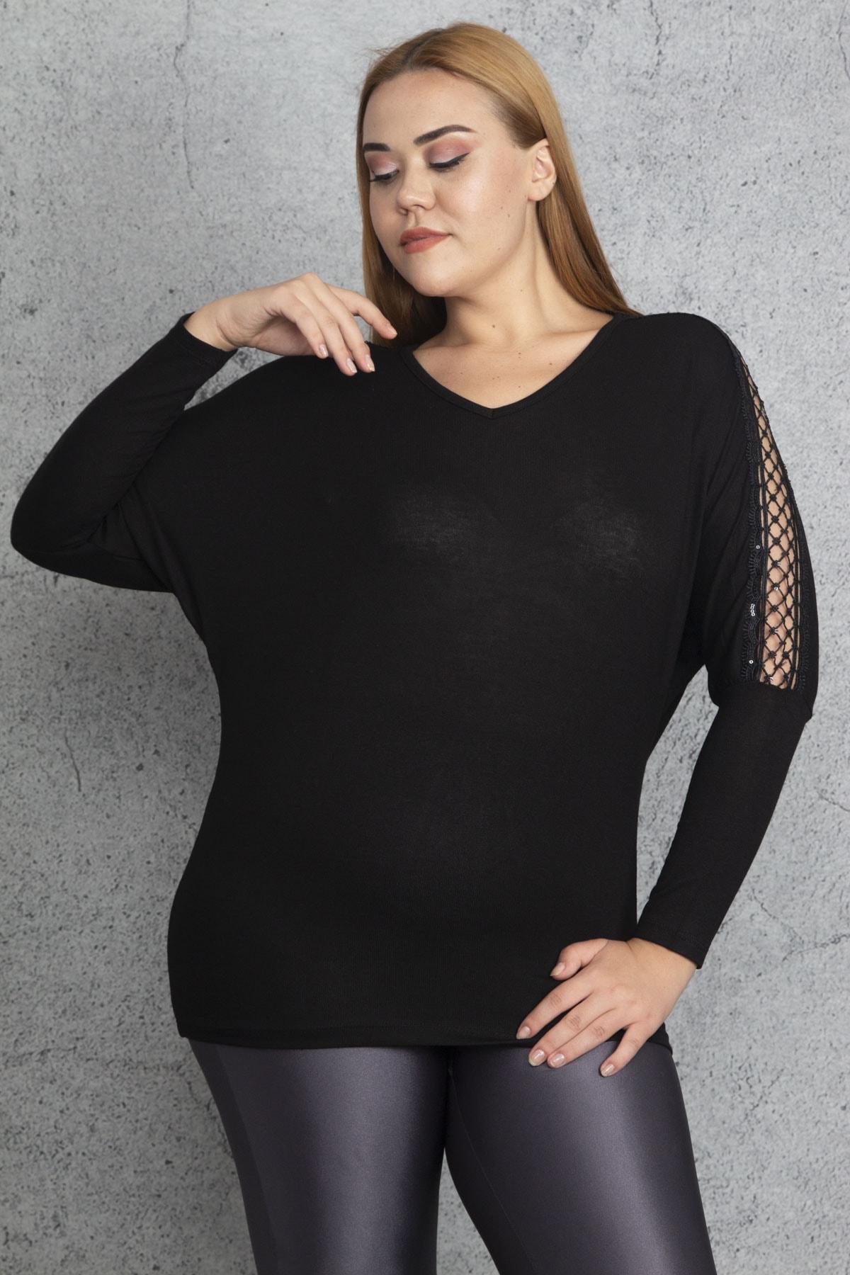 Şans Kadın Siyah Kolları Dantel Ve Payet Detaylı Bluz 65N18848 2