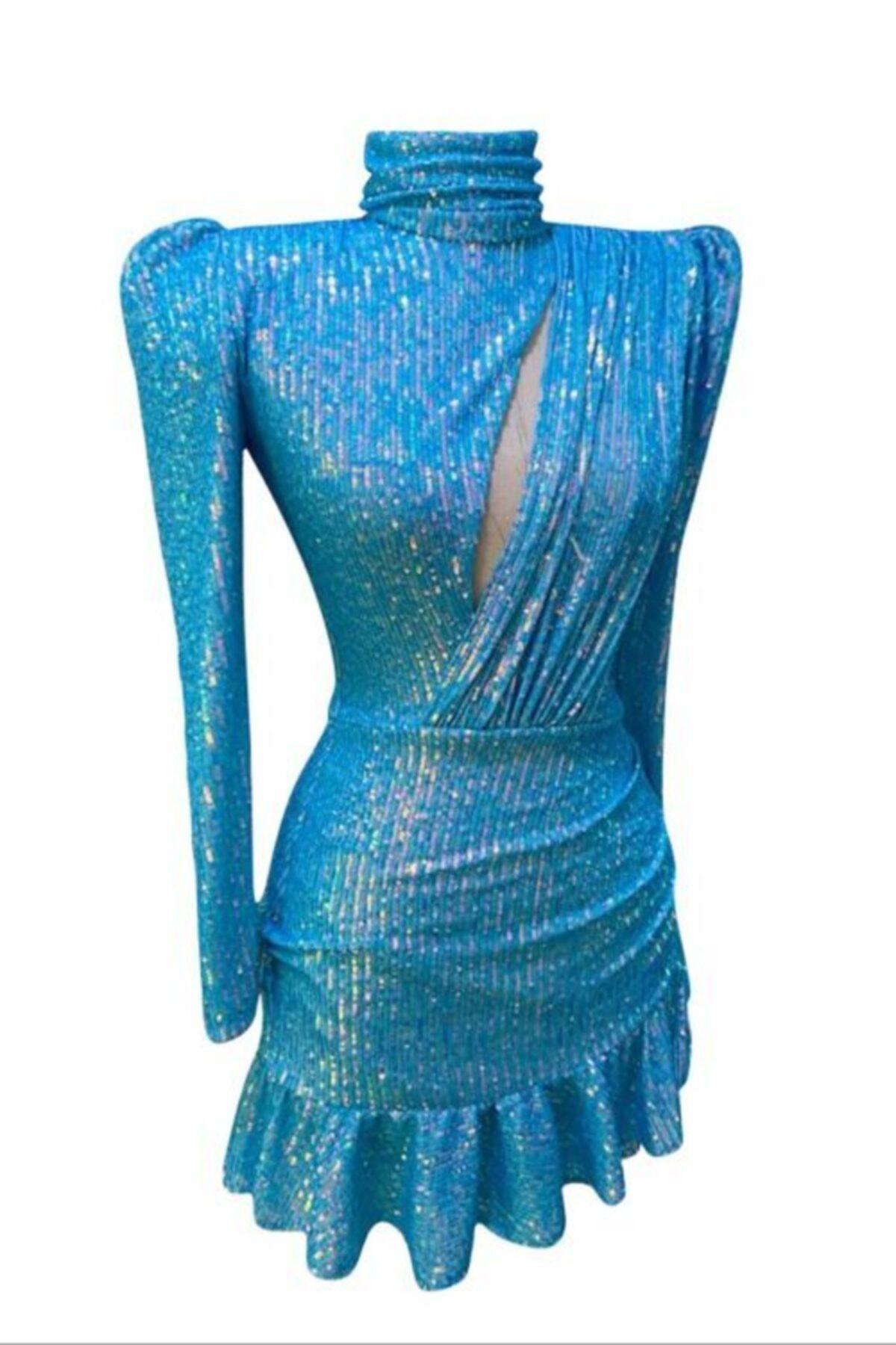 GIRA-GIRA Mavi Payetli Elbise 1
