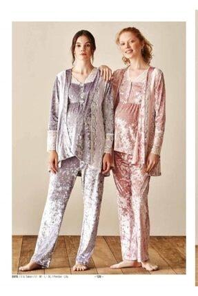 Feyza Pijama Feyza Lila Bayan Lohusa Üçlü Takım 3915